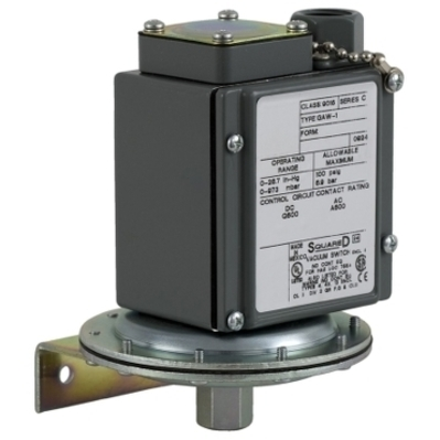 SQUARE D - SCHNEIDER ELECTRIC 9016GAW21 Square D 9016GAW21 Adjustable Scale Vacuum Switch, 1/4 inch-18 NPTF Pipe Tap, 0 - 28.3 InHg, 2NO 2NC