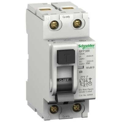 Square D - Schneider Electric 60969 Schneider Electric / Square D 60969 Multi 9™ Ground Fault Protector; 25 Amp, 480Y/277 Volt At 60 Hz (UL1053), 230/400, 240/415 Volt At 50 Hz (IEC 61008), 2-Pole, DIN Rail Mount