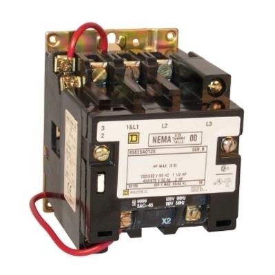 Square D - Schneider Electric 8502SAO12V02S Square D 8502SAO12V02S Non-Reversing Open Style NEMA Contactor, 600 VAC, 9 A, 3-Phase, 3-Pole, Size 00