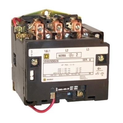Square D - Schneider Electric 8502SDO2V02S Square D 8502SDO2V02S Non-Reversing Open Style NEMA Contactor, 600 VAC, 45 A, 3-Phase, 3-Pole, Size 2