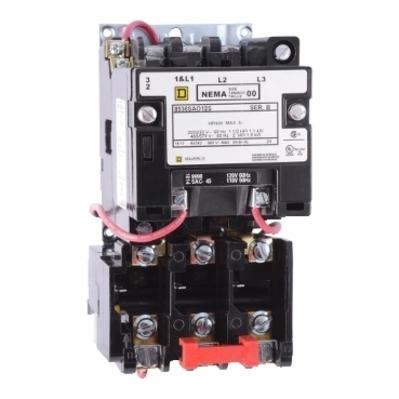 Square D - Schneider Electric 8536SBO2V08 Square D 8536SBO2V08 Non-Reversing Type S Motor Starter, 208 VAC Control Circuit, 600 VAC Main, 18 A, NEMA 00, 3-Pole, 3-Phase