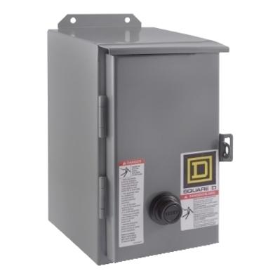 Square D - Schneider Electric 8536SCA2V03 Square D 8536SCA2V03 Non-Reversing Type S Motor Starter, 220 VAC Control Circuit, 600 VAC Main, 27 A, NEMA 1, 2-Pole, 1-Phase