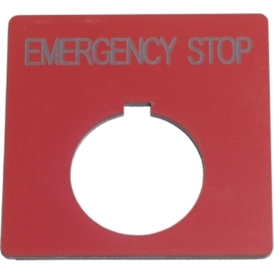"""Square D - Schneider Electric 9001KN705RP """"Square D 9001KN705RP Square Push Button Legend Plate, 30 mm, """"""""Emergency Stop"""""""", Black on Red/Plastic"""""""