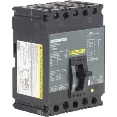 Square D - Schneider Electric FHL36100 Schneider Electric / Square D FHL36100 Molded Case Circuit Breaker; 100 Amp, 600 Volt AC, 250 Volt DC, 3-Pole, Unit Mount