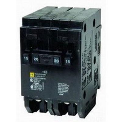 Square D - Schneider Electric HOMT1515240 Schneider Electric / Square D HOMT1515240 Homeline™ Quad Tandem Circuit Breaker; (2) Single Pole 15 Amp, (1) Two Pole 40 Amp, 120/240 Volt AC, 2-Pole, Plug-On Mount