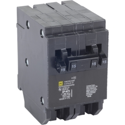 Square D - Schneider Electric HOMT1515250 Schneider Electric / Square D HOMT1515250 Homeline™ Quad Tandem Circuit Breaker; (2) Single Pole 15 Amp, (1) Two Pole 50 Amp, 120/240 Volt AC, 2-Pole, Plug-On Mount