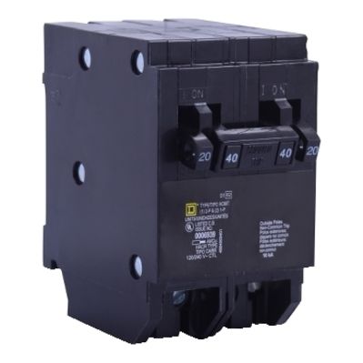 Square D - Schneider Electric HOMT2020250 Schneider Electric / Square D HOMT2020250 Homeline™ Quad Tandem Circuit Breaker; (2) Single Pole 20 Amp, (1) Two Pole 50 Amp, 120/240 Volt AC, 2-Pole, Plug-On Mount