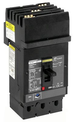 Square D - Schneider Electric JJA36250 Schneider Electric / Square D JJA36250 I-Line® Powerpact® Molded Case Circuit Breaker; 250 Amp, 600 Volt AC, 250 Volt DC, 3-Pole, Plug-On Mount