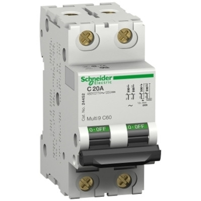 Square D - Schneider Electric MG17446 Square D MG17446 Miniature Thermal Magnetic Circuit Breaker, 240/415/440 VAC, 125 VDC, 15 A, 2-Pole, Clip-On Mount