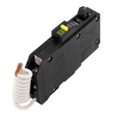 Square D - Schneider Electric QOB115GFI Schneider Electric / Square D QOB115GFI Ground Fault Miniature Circuit Breaker with Shunt Trip; 15 Amp, 120 Volt AC, 1-Pole, Bolt-On Mount