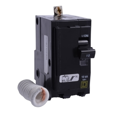 Square D - Schneider Electric QOB220SWN Schneider Electric / Square D QOB220SWN Switch Neutral Miniature Circuit Breaker; 20 Amp, 120/240 Volt AC, 2-Pole, Bolt-On Mount