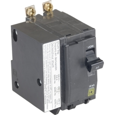 Square D - Schneider Electric QOB2401021 Schneider Electric / Square D QOB2401021 Miniature Circuit Breaker with Shunt Trip; 40 Amp, 120/240 Volt AC, 48 Volt DC, 2-Pole, Bolt-On Mount