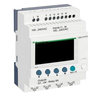 Square D - Schneider Electric SR2A101FU Square D SR2A101FU Compact Smart Relay with Display, 6-Descrete Input, 4-Relay Output, 100 - 240 VAC