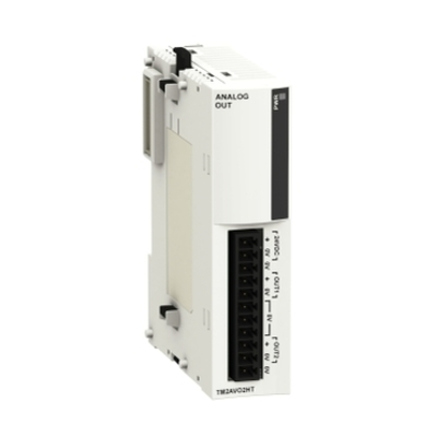 Square D - Schneider Electric TM2AVO2HT Square D TM2AVO2HT Expansion Analog Output Module, 2-Voltage Output, 24 VDC, 60 mA, Removable Screw Terminal