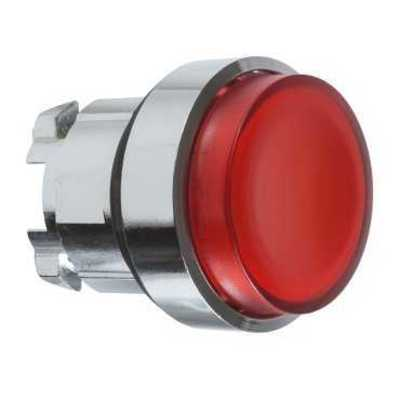 Square D - Schneider Electric ZB4BH43 Schneider Electric / Square D ZB4BH43 Pushbutton; 22 mm, Extended, Push On-Push Off, Chromium Plated Metal Bezel, Red