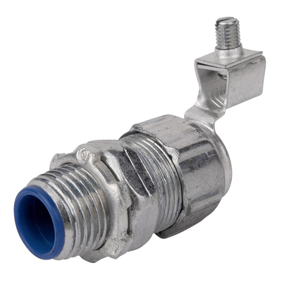 THOMAS & BETTS 5336GR Thomas & Betts 5336GR Straight External Bonding Liquidtight Connector; 1-1/2 Inch, Steel, Electro-Plated Zinc/Chromate Coated, Tapered Threaded