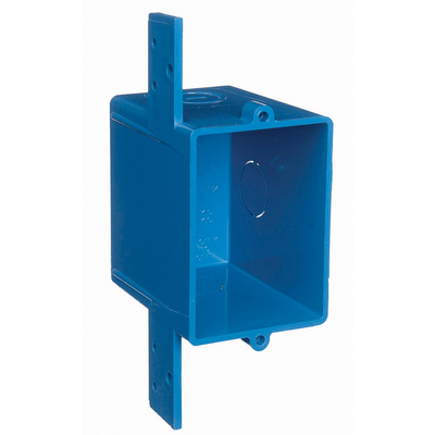 THOMAS & BETTS A58381D Carlon A58381D 1-Gang ENT Square Outlet Box With Cover; 3 Inch Depth, Non-Metallic, 16 Cubic-Inch, Blue