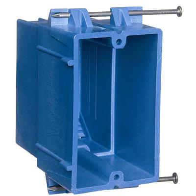 THOMAS & BETTS BH122A-UPC Carlon BH122A-UPC 1-Gang Outlet Box; 3-3/4 Inch Depth, PVC, 22 Cubic-Inch, Blue
