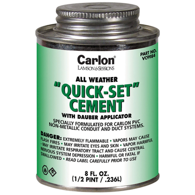 THOMAS & BETTS VC9984 Carlon VC9984 Quickset Cement With Dauber Applicator; 8 oz, Clear
