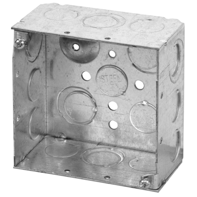 Thomas & Betts 521711234E Steel City 521711234E 4 In Square Pre-galvanized Steel Box with MS Bracket; 1/2 In & 3/4 In Knockouts