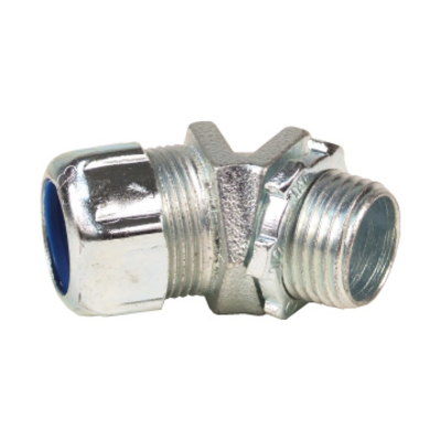 Thomas & Betts 5249 Thomas & Betts 5249 Non-Insulated 45 Degree Liquidtight Conduit Connector; 3 Inch, Malleable Iron, Electro-Plated Zinc/Chromate Coated, Tapered Threaded