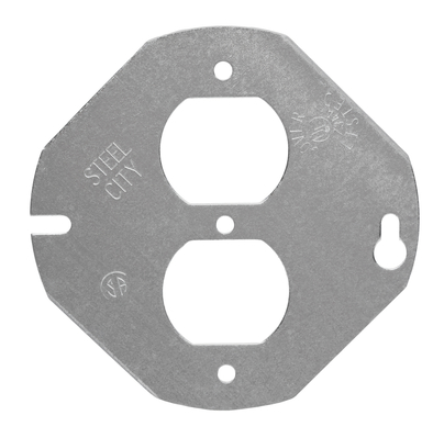 Thomas & Betts 5402LR Steel City 5402-LR  4 in. Steel Round and Octagon Box Cover, Flat, Center Blanked for Duplex Receptacle