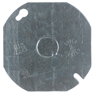 Thomas & Betts 54C6 Steel City 54-C-6 4 in. Steel Round and Octagon Box Cover, Flat with 1/2 in. Knockout