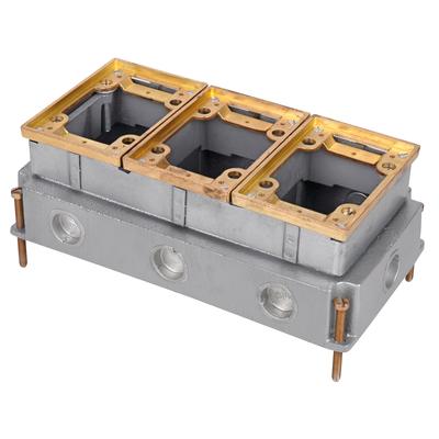 Thomas & Betts 643 Steel City 643 Fully-Adjustable 3-Gang Rectangular Improved Design Floor Box; 3-5/8 Inch Depth, Cast Iron, 111 Cubic-Inch