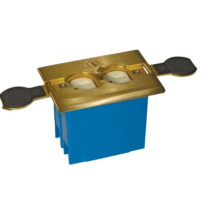 Thomas & Betts B121BFBB Carlon B121BFBB Adjust-A-Box® Zip Adjustable 1-Gang Non-Metallic Rectangular Floor Box Kit; 3.300 Inch Depth, Brass Cover, 20 Cubic-Inch, Brass/Blue