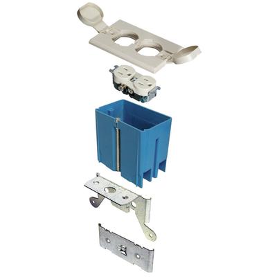 Thomas & Betts B121BFBRW Carlon B121BFBRW Adjust-A-Box 1-Gang Non-Metallic Rectangular Floor Box Kit; Wood, 20 Cubic-Inch, White