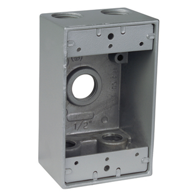 Thomas & Betts IH5-1-LM Red Dot IH5-1-LM Dry-Tite® 1-Gang Universal Weatherproof Device Box With Mounting Lugs; 2 Inch Depth, A380 Die-Cast Aluminum Alloy, 17 Cubic-Inch, Silver