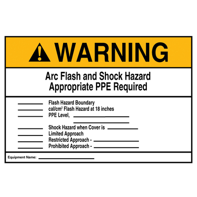 Thomas & Betts LB94915 LB94915 T&B WARNING ARC FLASH HZD LBL 7X10