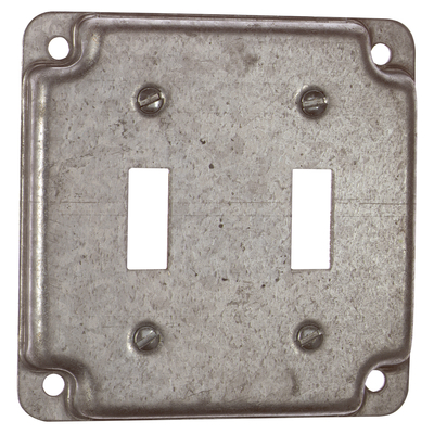 Thomas & Betts RS5 Steel City RS-5 4 in. Square Flush Receptacle Cover, For 2 Toggle Switches